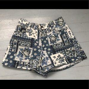 Vintage patchwork floral design high rise shorts